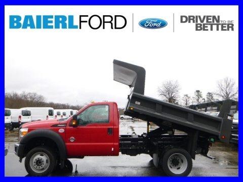 Vermillion Red 2015 Ford F550 Super Duty XL Regular Cab 4x4 Dump Truck