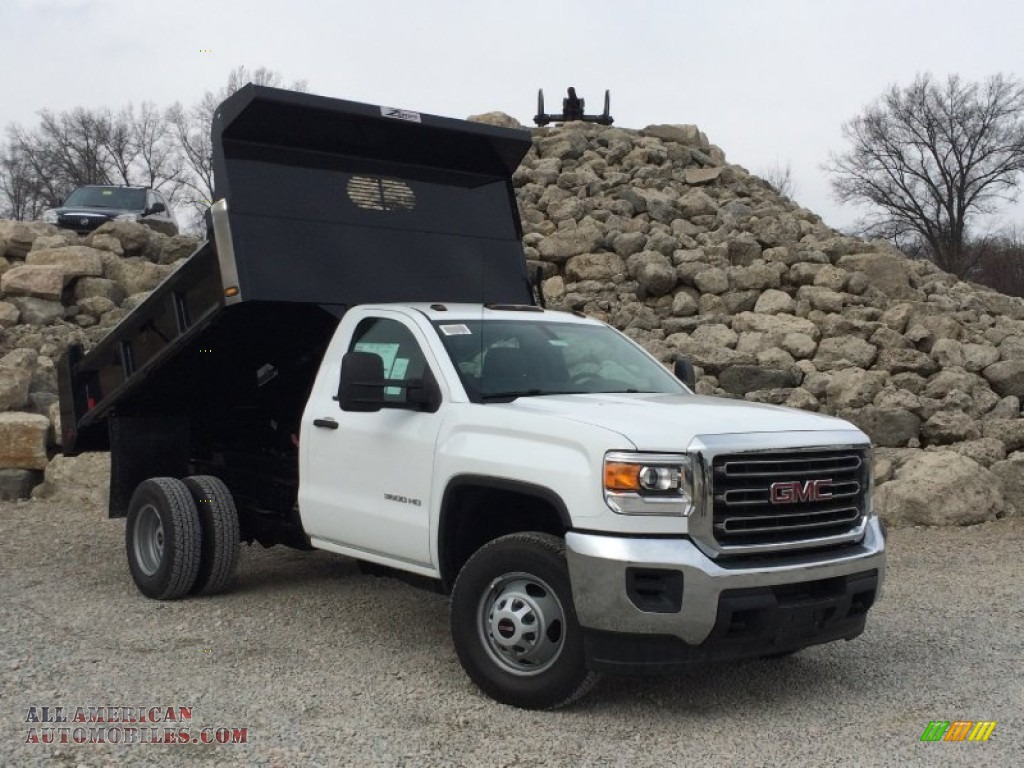 2015 gmc sierra 3500hd work truck regular cab 4x4 dump truck in summit white 195770 all. Black Bedroom Furniture Sets. Home Design Ideas
