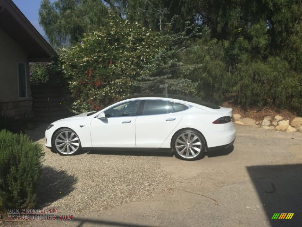 2013 Model S P85 Performance - White / Black photo #1