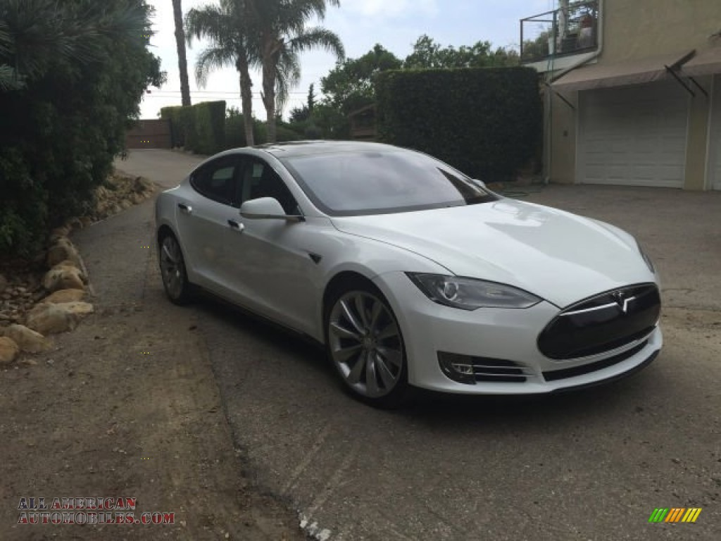 2013 Model S P85 Performance - White / Black photo #2
