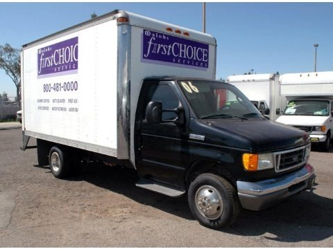 Black 2006 Ford E Series Cutaway E350 Commercial Moving Van