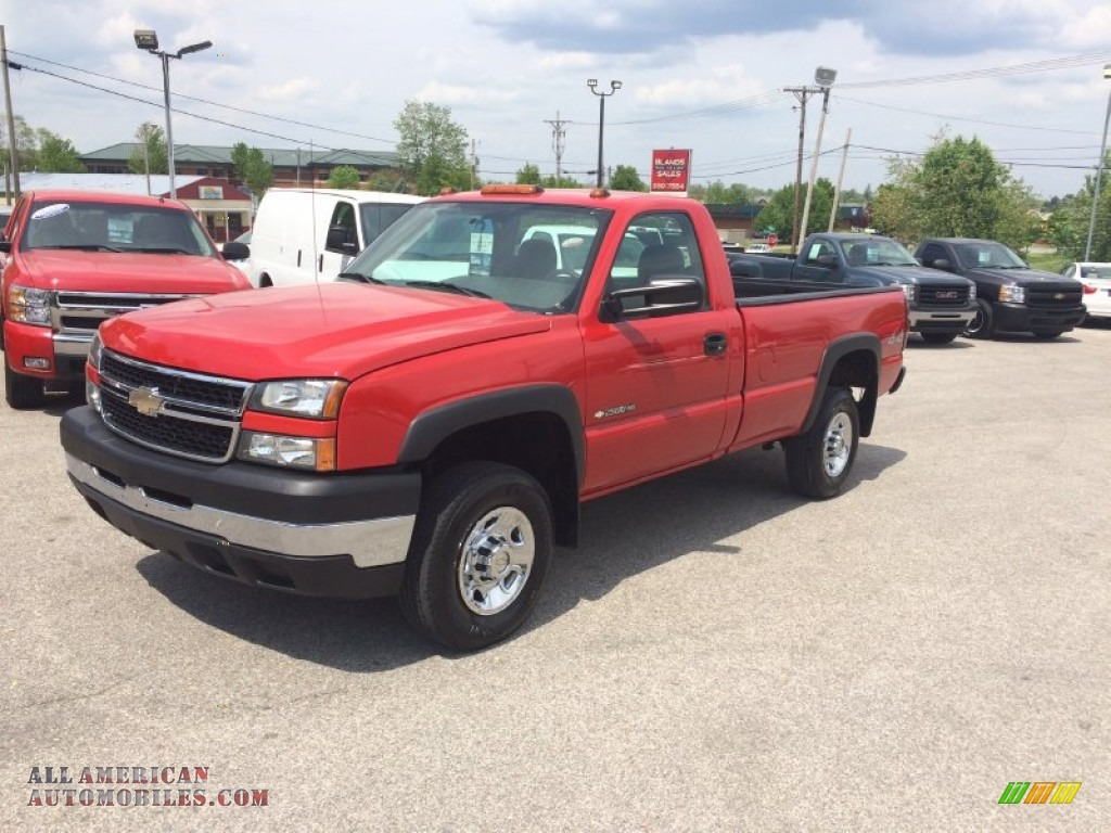 2006 chevrolet silverado 2500hd work truck regular cab 4x4 in victory red photo 29 281854. Black Bedroom Furniture Sets. Home Design Ideas