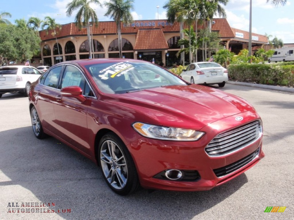 2013 ford fusion titanium in ruby red metallic 181828 all american automobiles buy. Black Bedroom Furniture Sets. Home Design Ideas