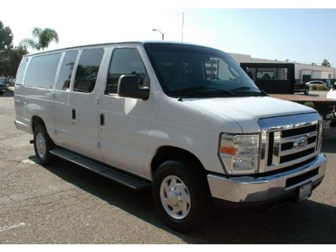 Oxford White 2009 Ford E Series Van E350 Super Duty XLT Extended Passenger