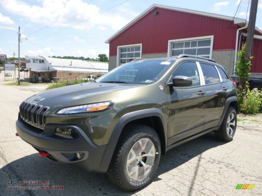 2015 jeep cherokee trailhawk 4x4 in eco green pearl 776273 all american automobiles buy. Black Bedroom Furniture Sets. Home Design Ideas