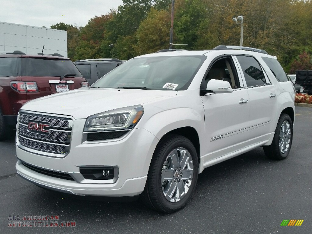 2016 gmc acadia denali awd in white frost tricoat 168043 all american automobiles buy. Black Bedroom Furniture Sets. Home Design Ideas