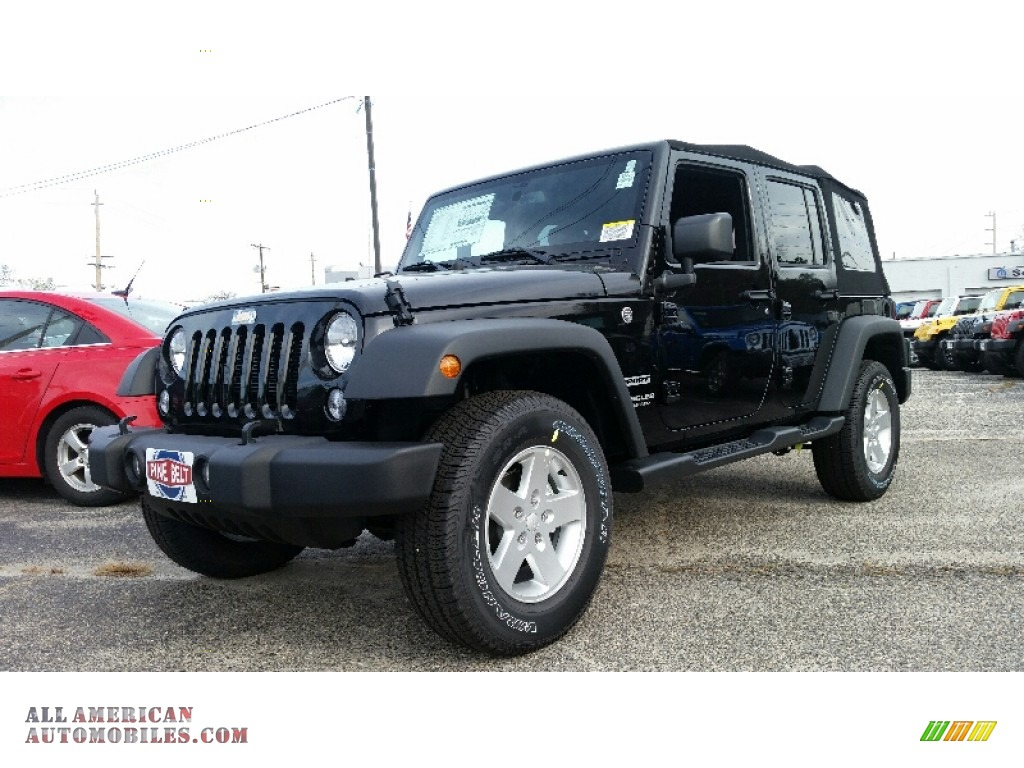 2016 jeep wrangler unlimited sport 4x4 in black 118883 all american automobiles buy. Black Bedroom Furniture Sets. Home Design Ideas