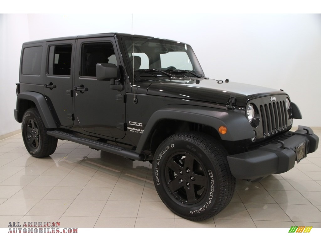 2015 jeep wrangler unlimited sport 4x4 in black 518472 all american automobiles buy. Black Bedroom Furniture Sets. Home Design Ideas