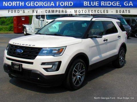 White Platinum Metallic Tri-Coat 2016 Ford Explorer Sport 4WD