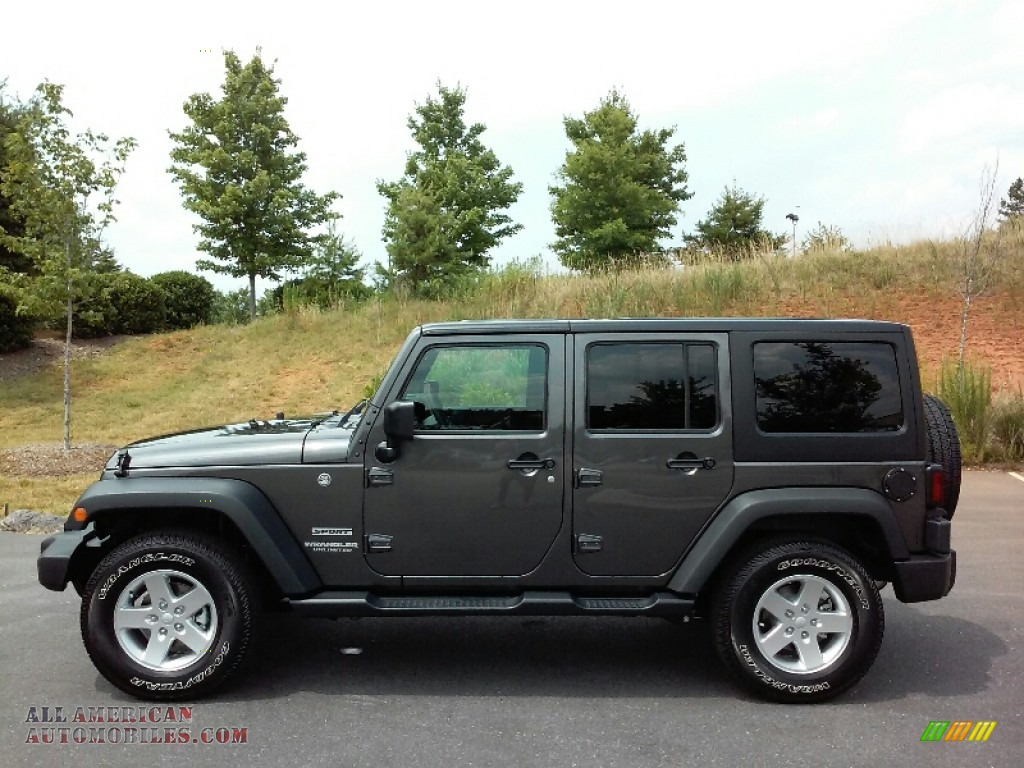 2016 jeep wrangler unlimited sport 4x4 in granite crystal metallic 279129 all american. Black Bedroom Furniture Sets. Home Design Ideas