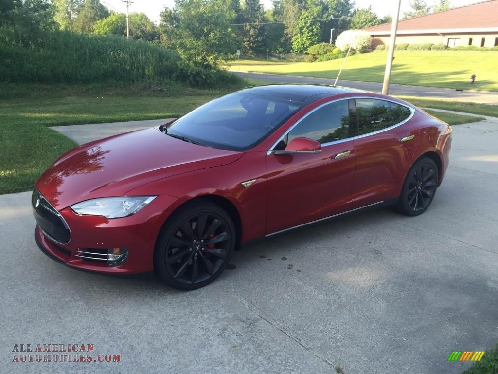 2014 Model S P85D Performance - Red Multi-Coat / Black photo #1