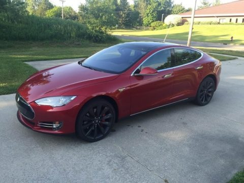 Red Multi-Coat 2014 Tesla Model S P85D Performance