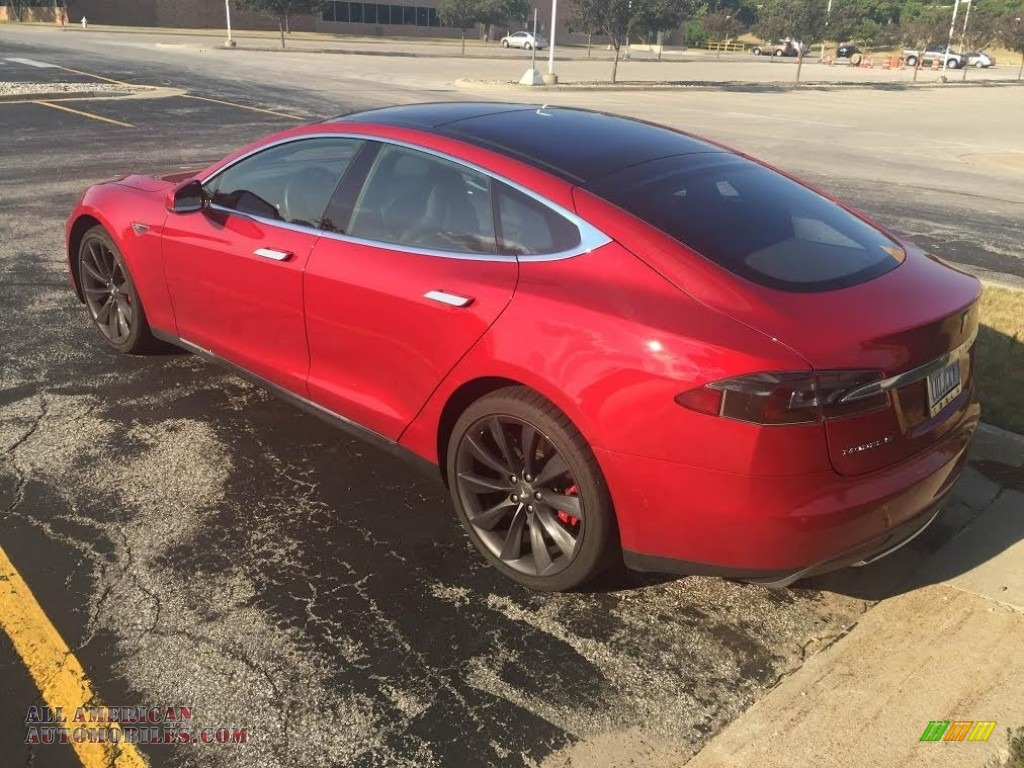 2014 Model S P85D Performance - Red Multi-Coat / Black photo #4