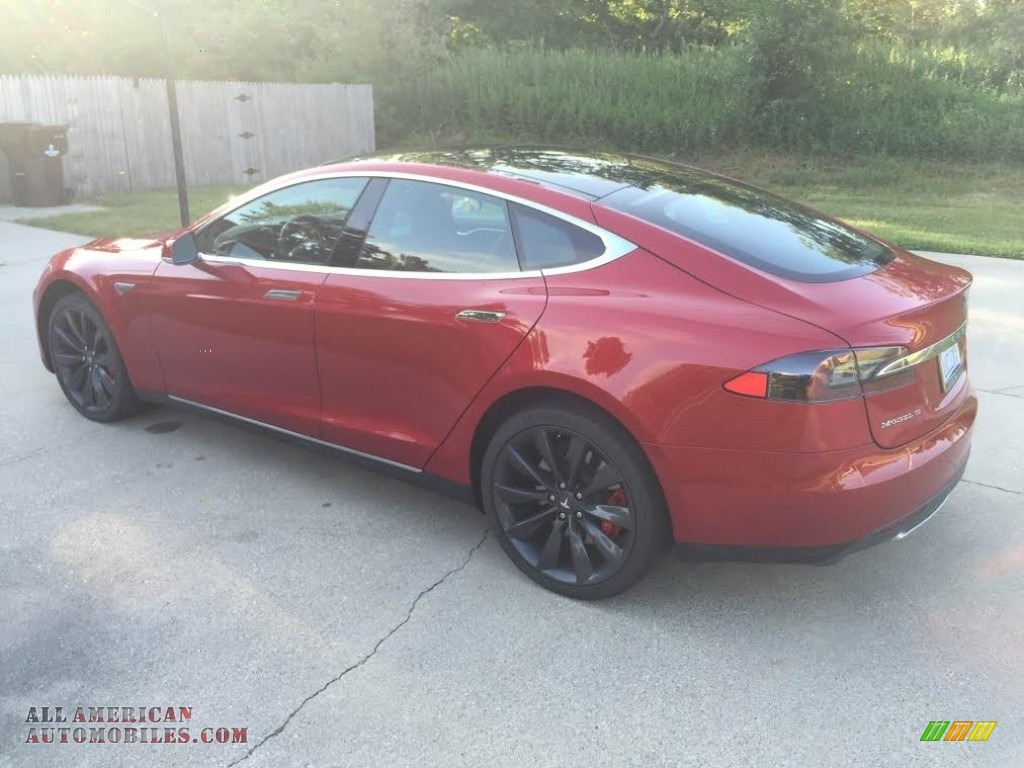 2014 Model S P85D Performance - Red Multi-Coat / Black photo #5