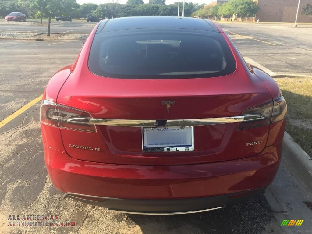 2014 Model S P85D Performance - Red Multi-Coat / Black photo #6