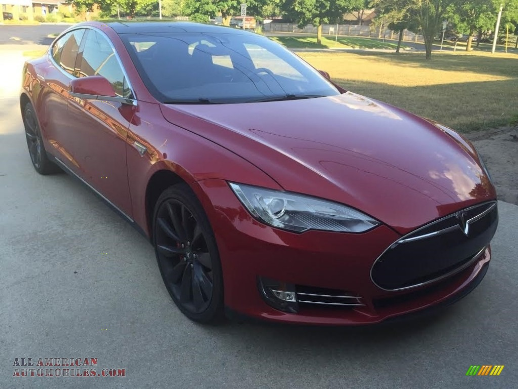 2014 Model S P85D Performance - Red Multi-Coat / Black photo #7