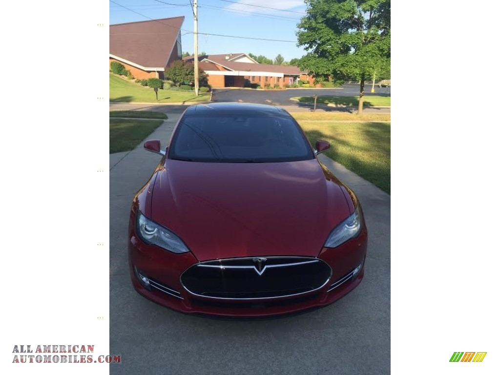 2014 Model S P85D Performance - Red Multi-Coat / Black photo #8