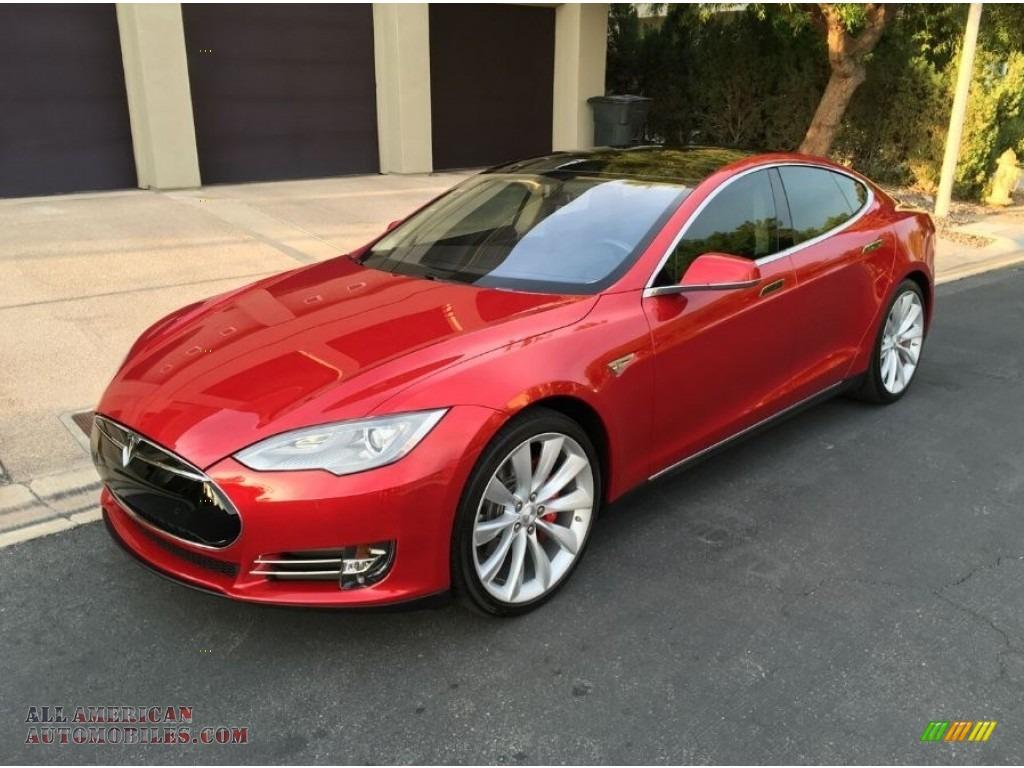 2014 Model S P85D Performance - Red Multi-Coat / Black photo #1