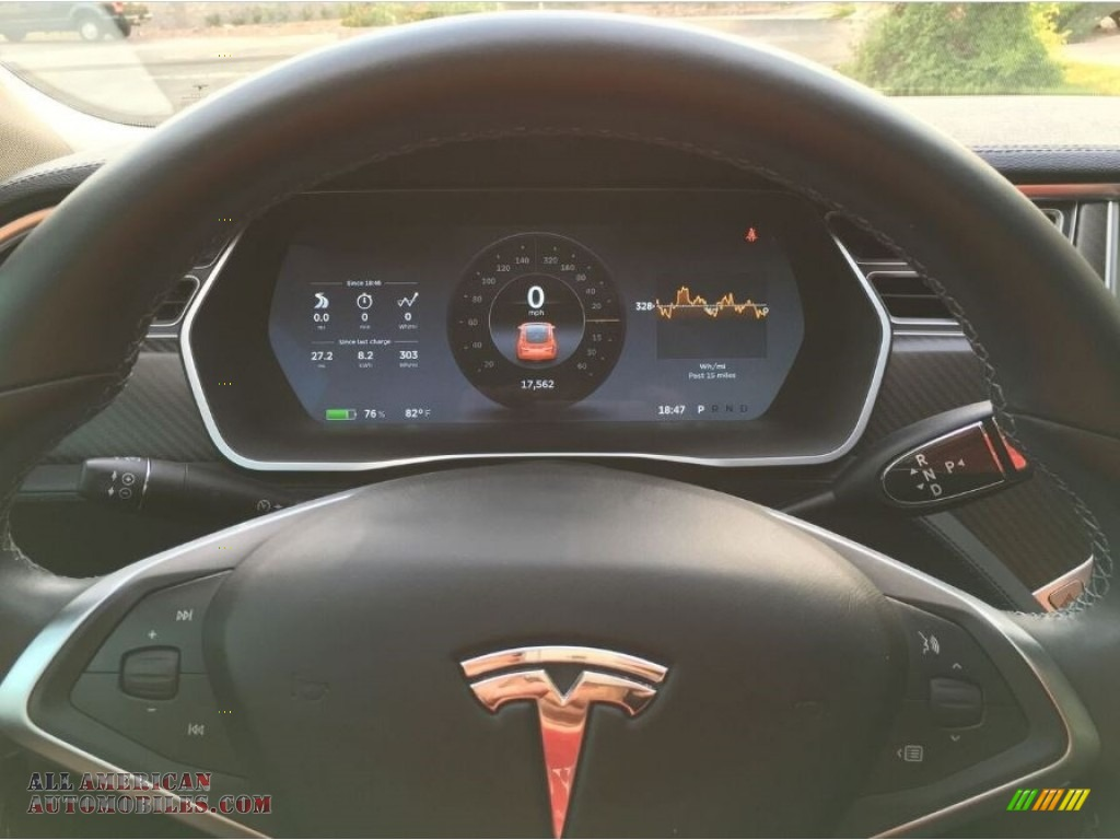 2014 Model S P85D Performance - Red Multi-Coat / Black photo #11