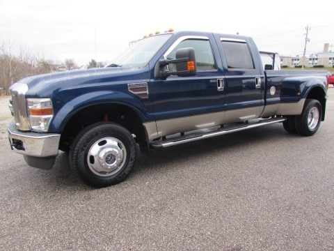Dark Blue Pearl Metallic 2009 Ford F350 Super Duty Lariat Crew Cab 4x4 Dually