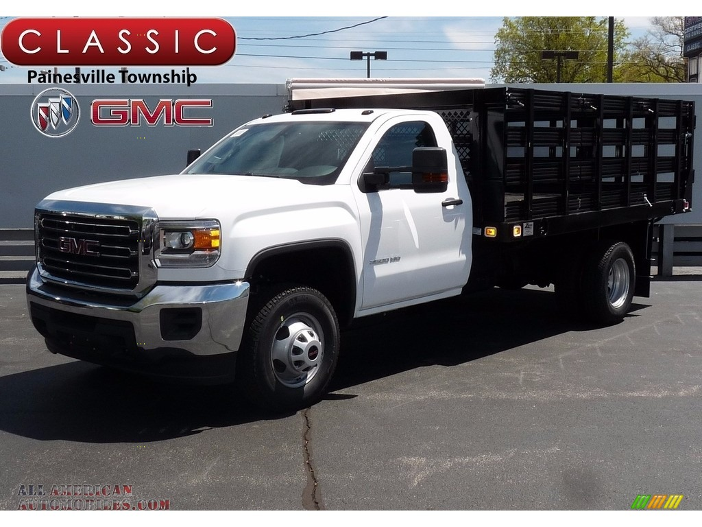 2017 gmc sierra 3500hd regular cab stake truck in summit white 191699 all american. Black Bedroom Furniture Sets. Home Design Ideas