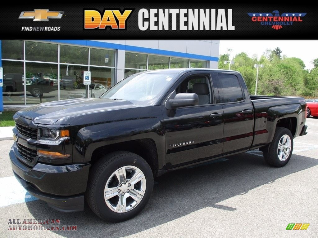 2017 chevrolet silverado 1500 custom double cab 4x4 in black 331317 all american automobiles. Black Bedroom Furniture Sets. Home Design Ideas