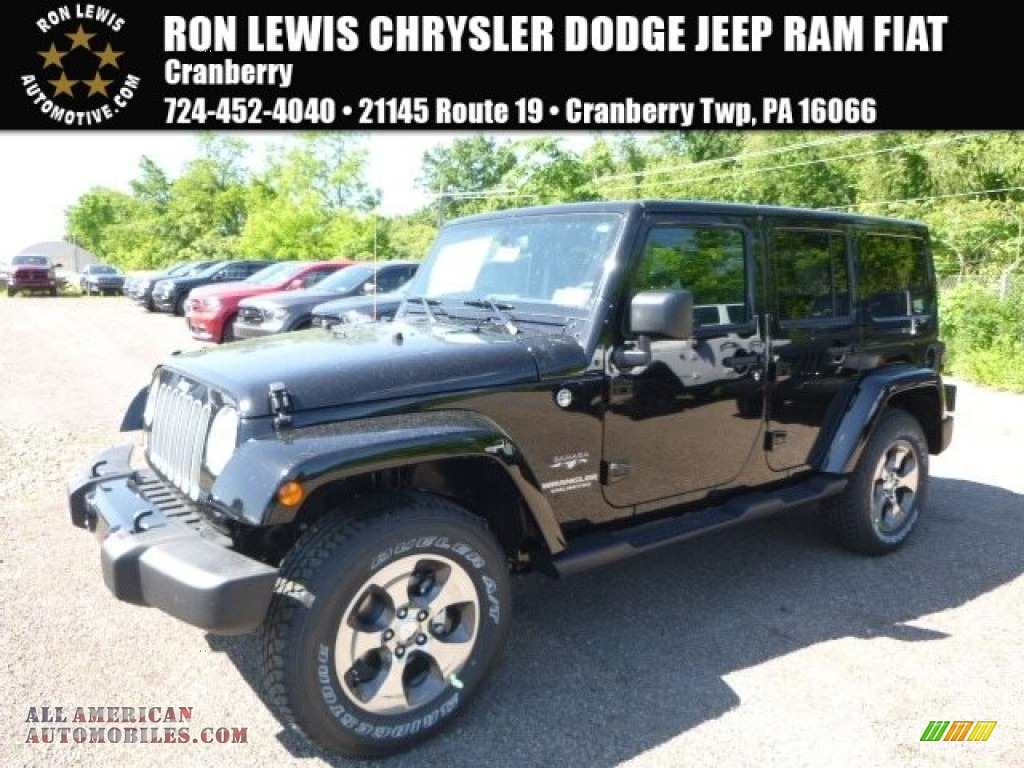 2017 jeep wrangler unlimited sahara 4x4 in black 656324 all american automobiles buy. Black Bedroom Furniture Sets. Home Design Ideas