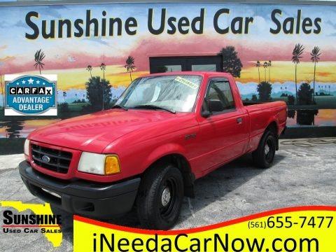 Bright Red 2002 Ford Ranger XL Regular Cab