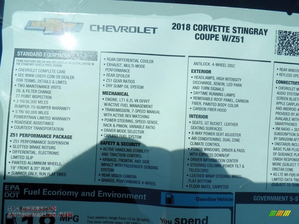 2018 Corvette Stingray Convertible - Admiral Blue Metallic / Gray photo #53