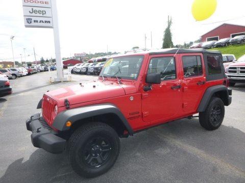 Firecracker Red 2016 Jeep Wrangler Unlimited Sport 4x4