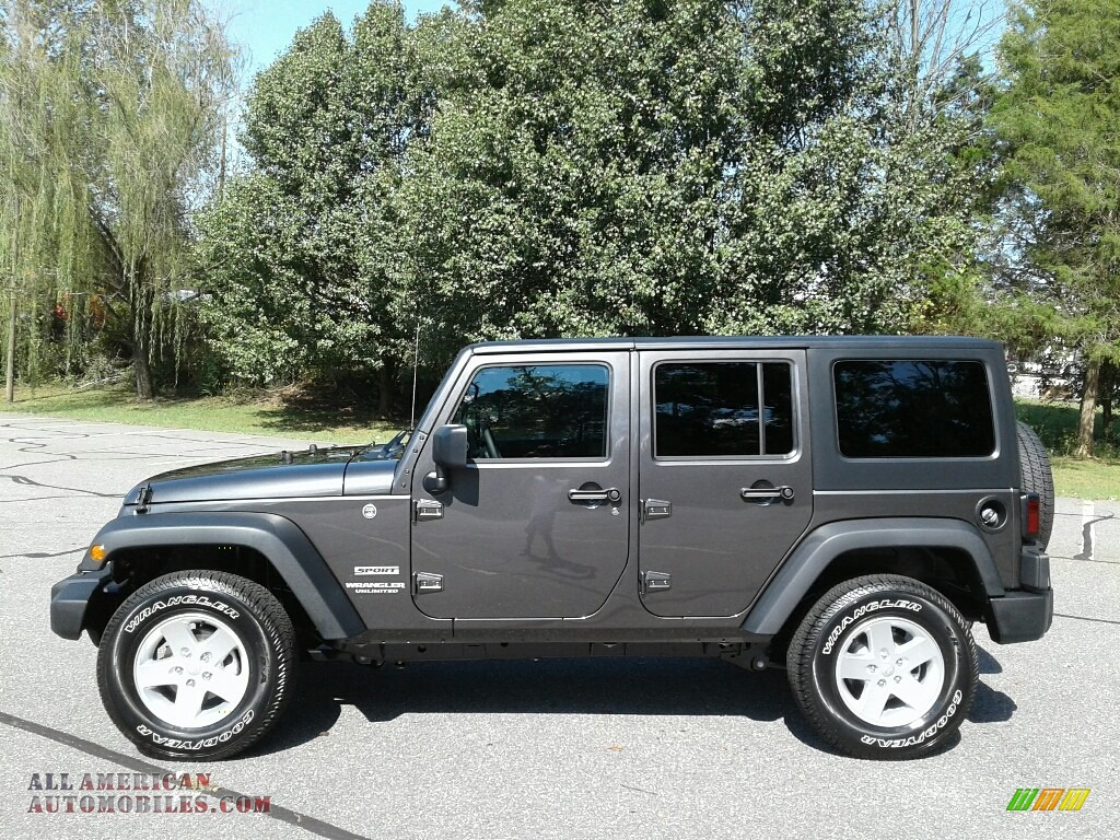 2017 Wrangler Unlimited Sport 4x4 - Granite Crystal Metallic / Black photo #1