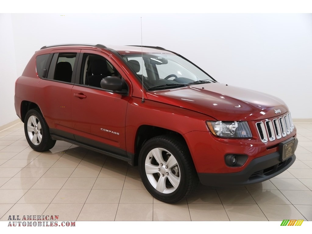 2017 jeep compass sport 4x4 in deep cherry red crystal pearl 106386 all american automobiles. Black Bedroom Furniture Sets. Home Design Ideas