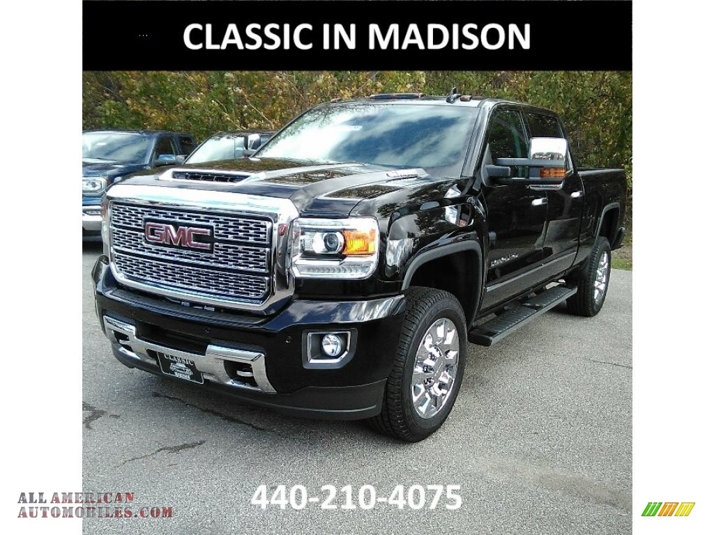 2018 gmc sierra 2500hd denali crew cab 4x4 in onyx black 119481 all american automobiles. Black Bedroom Furniture Sets. Home Design Ideas