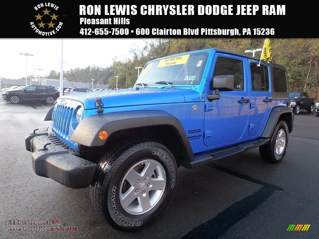 2015 jeep wrangler unlimited sport 4x4 in hydro blue pearl 740623 all american automobiles. Black Bedroom Furniture Sets. Home Design Ideas