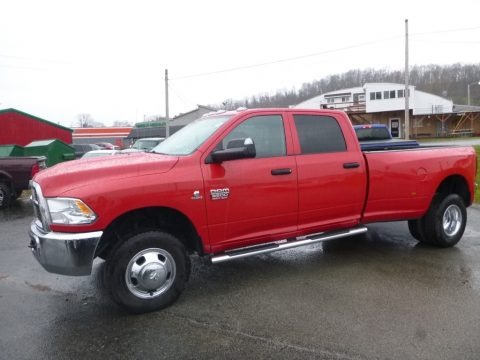 Bright Red 2012 Dodge Ram 3500 HD ST Crew Cab 4x4 Dually