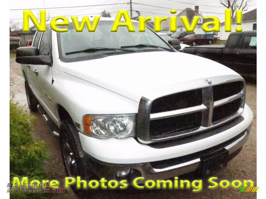 2004 Ram 1500 SLT Quad Cab 4x4 - Bright White / Dark Slate Gray photo #1