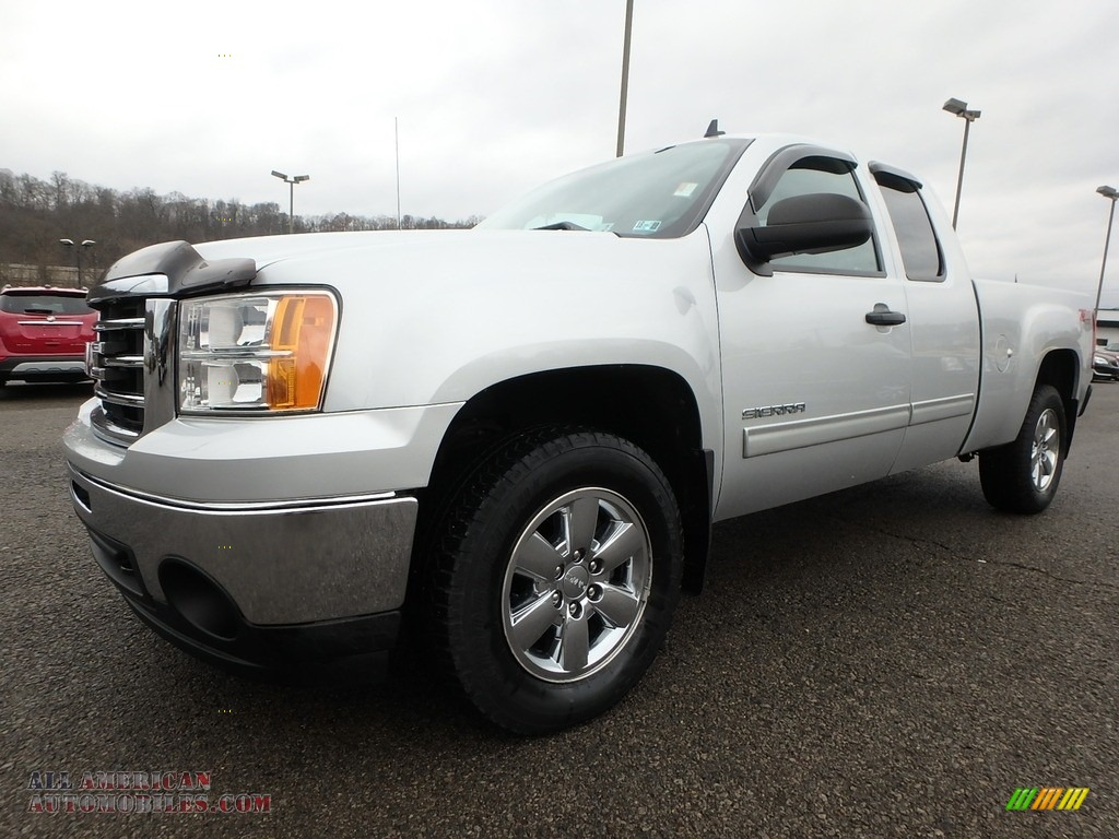 2012 Sierra 1500 SLE Extended Cab 4x4 - Quicksilver Metallic / Ebony photo #1