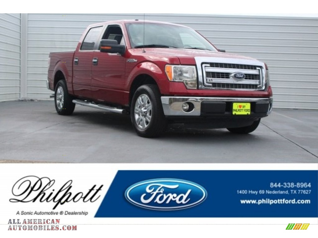 2013 F150 XLT SuperCrew - Vermillion Red / Steel Gray photo #1