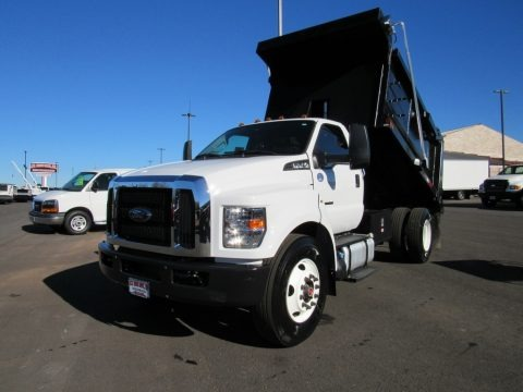 Oxford White 2017 Ford F650 Super Duty Regular Cab Chassis Dump Truck