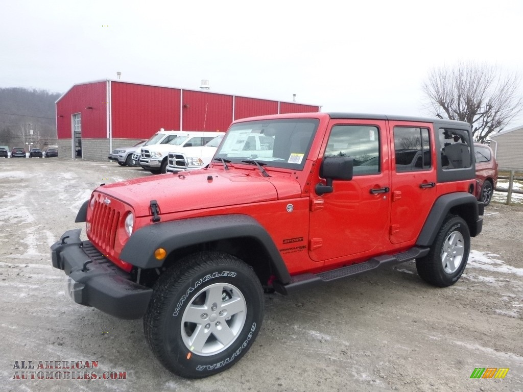 Firecracker Red / Black Jeep Wrangler Unlimited Sport 4x4