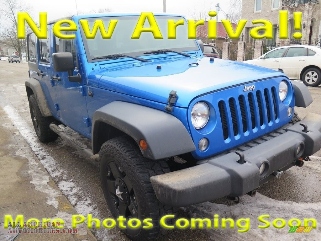 2015 Wrangler Unlimited Sport 4x4 - Hydro Blue Pearl / Black photo #1