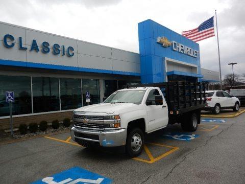 Summit White 2018 Chevrolet Silverado 3500HD Work Truck Regular Cab 4x4 Stake Truck