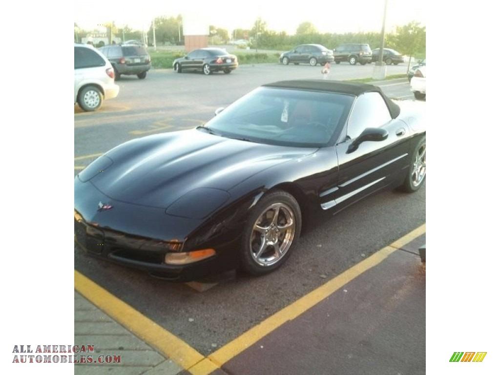 2002 Corvette Convertible - Black / Torch Red photo #1