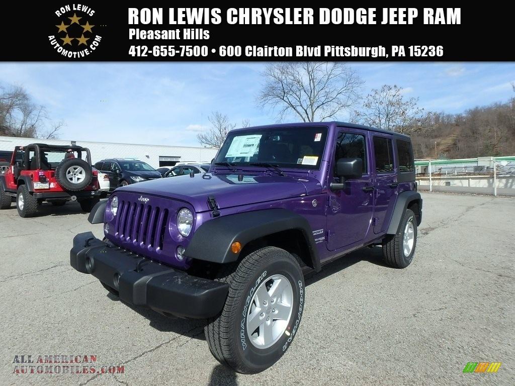 Xtreme Purple Pearl / Black Jeep Wrangler Unlimited Sport 4x4