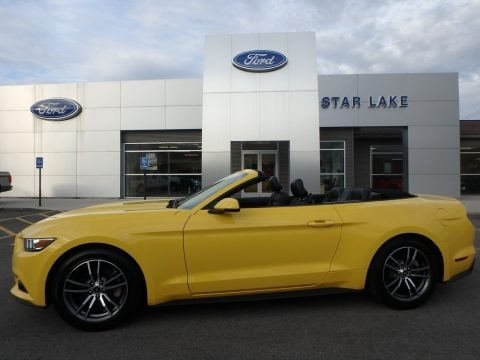 Triple Yellow 2017 Ford Mustang EcoBoost Premium Convertible