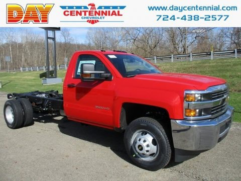 Red Hot 2018 Chevrolet Silverado 3500HD Work Truck Crew Cab 4x4 Chassis