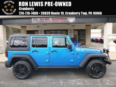 Hydro Blue Pearl 2016 Jeep Wrangler Unlimited Sport 4x4