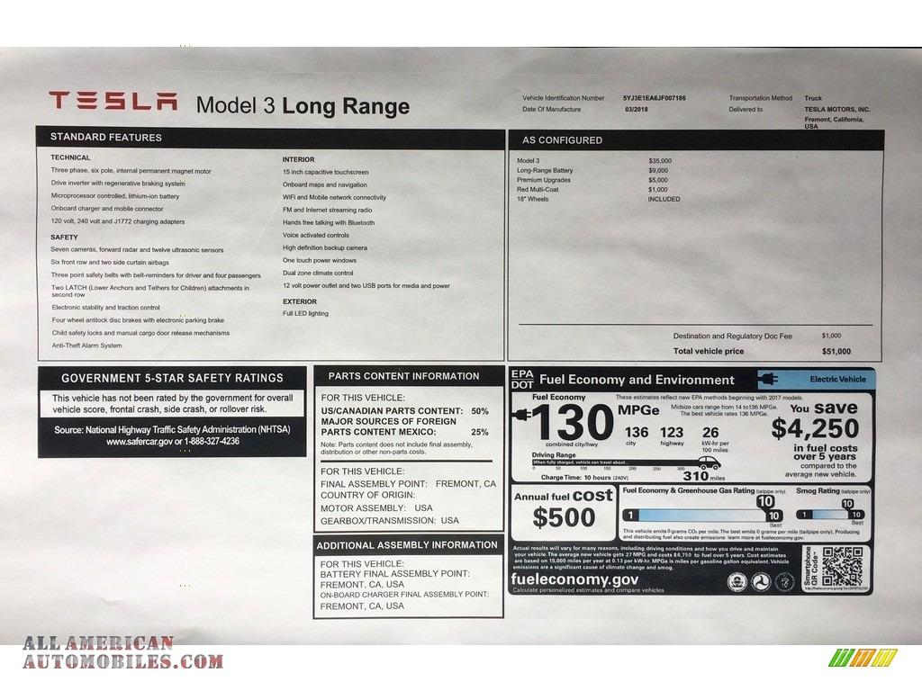2018 Model 3 Long Range - Red Multi-Coat / Black photo #11
