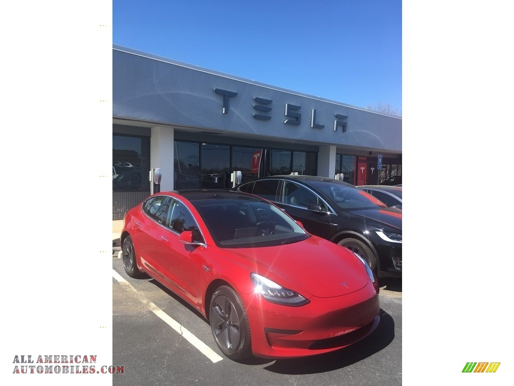 2018 Model 3 Long Range - Red Multi-Coat / Black photo #20