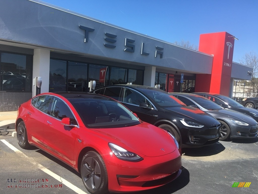 2018 Model 3 Long Range - Red Multi-Coat / Black photo #21
